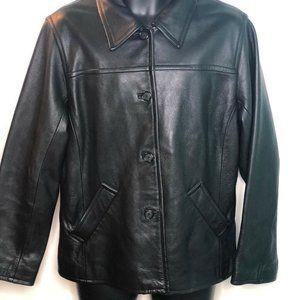 Eddie Bauer Womens Jacket Black Genuine Leather Lg